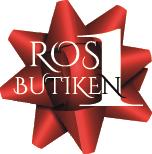 Rosettbutikens logotype. Det är en röd rosett med texten Ros1Butiken.