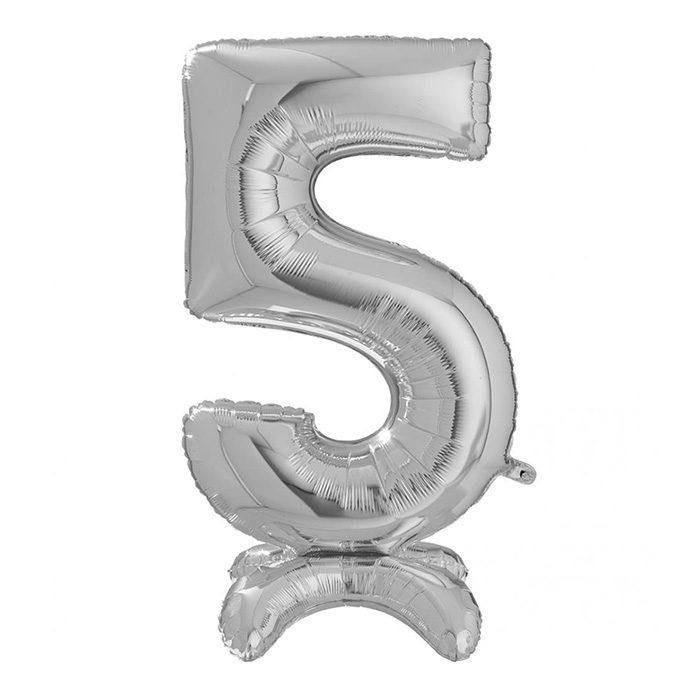 Folieballong i silver siffran 5