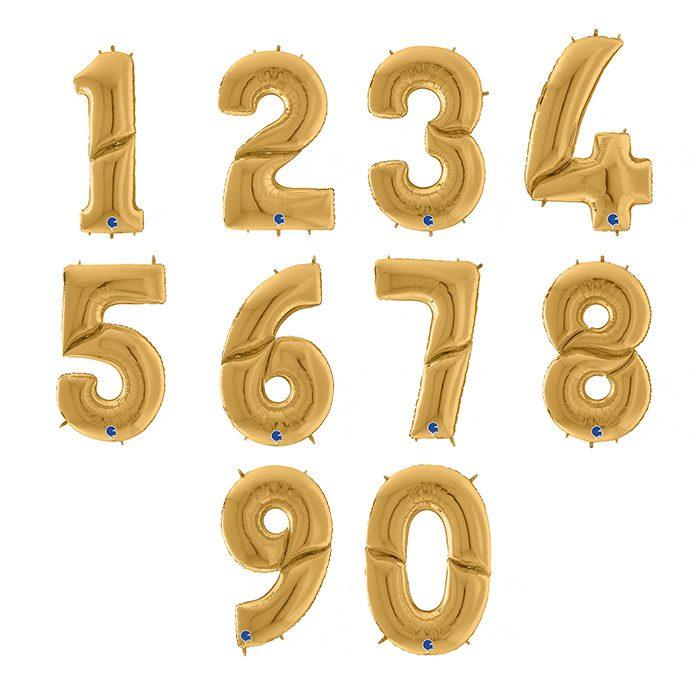 Folieballong i guld hela 164 cm hög siffrorna 0 - 9