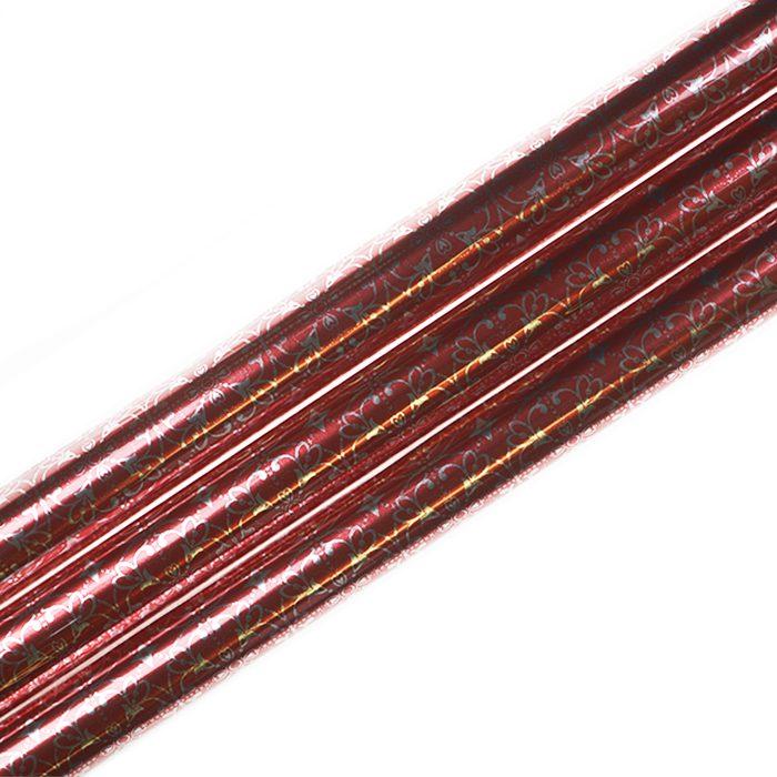 Presentpapper metallic 70 x 200 cm rullar av presentpapper rött med silverornament