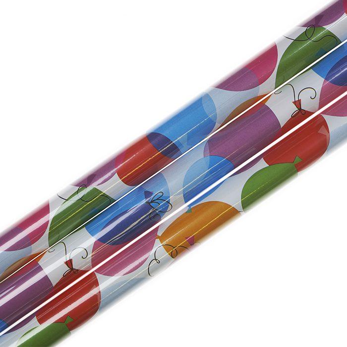 Presentpapper 70 x 200 cm rullar av presentpapper vitbotten med ballonger i många olika färger