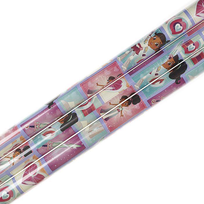 Presentpapper 70 x 200 cm rullar av presentpapper Nella med lila botten och bilder av Nella supergirl