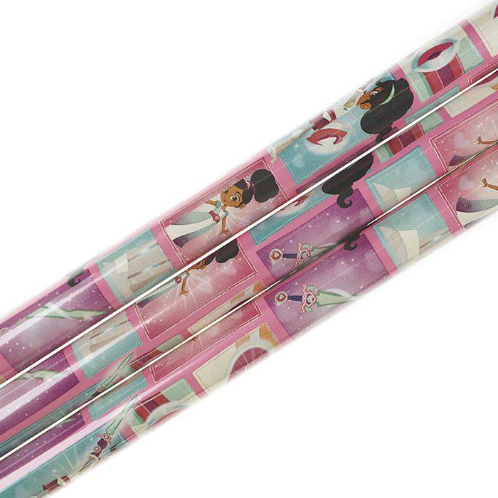 Presentpapper 70 x 200 cm rullar av presentpapper Nella med rosa botten och bilder av Nella supergirl