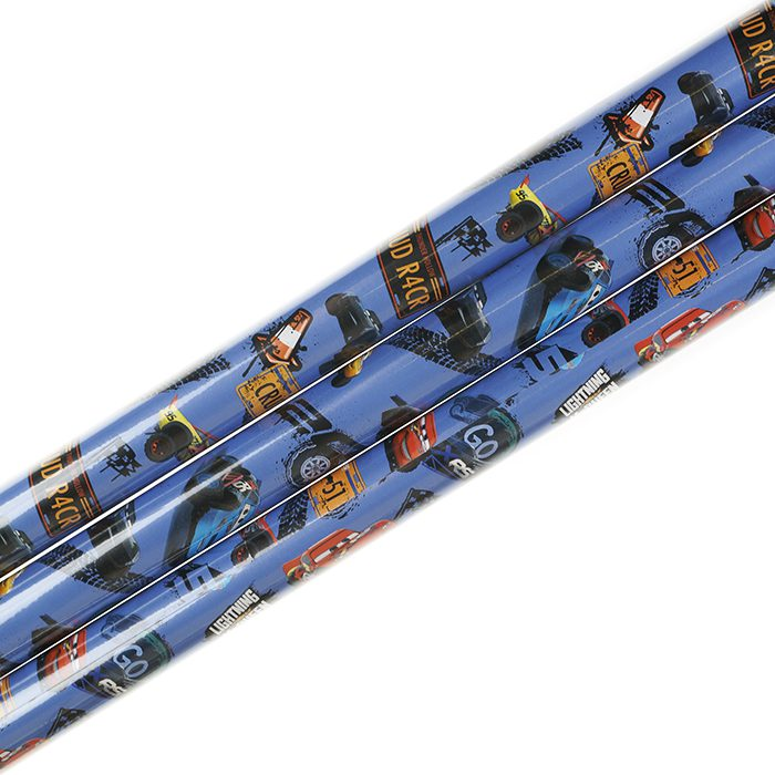 Presentpapper 70 x 200 cm rullar av presentpapper Disney bilder från filmen Cars- Bilar på blå bortten