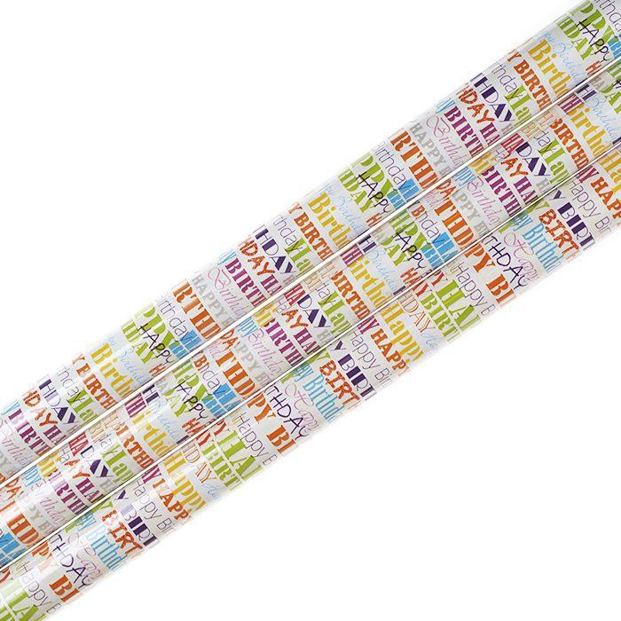 Presentpapper 70 x 200 cm rullar av presentpapper vit botten med text Happy Birthday i olika färger och typsnitt