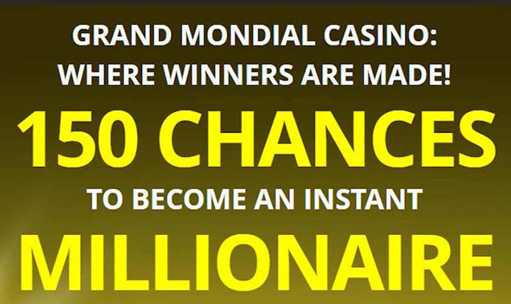 150 extra free spins offer at Grand Mondial Casino