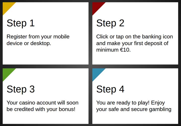 Register in 4 steps at the online casino and play from your PC or mobile device
