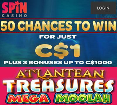 Spin Casino 1 dollar bonus
