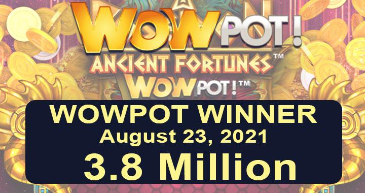 Winning jackpot on Ancient Fortunes Poseidon WowPot Megaways