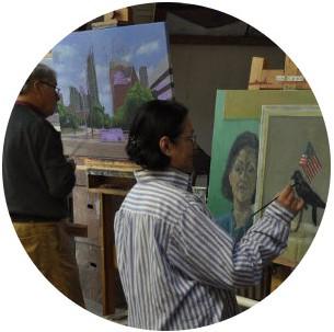 Leerlingen in Atelier