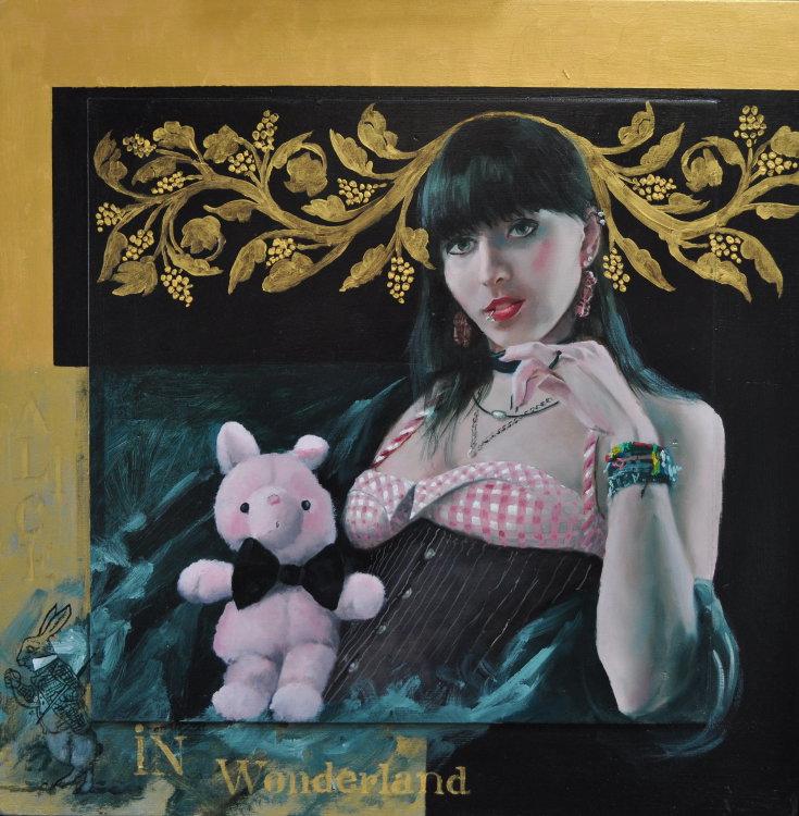 Alice in Wonderland Oil on panel, gold leaf, framed 60 x 60 cm €2.300