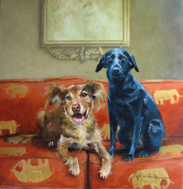 portret in opdracht portretten in opdracht schilderij honden hond rashond combinatie schilderij Hondenportret