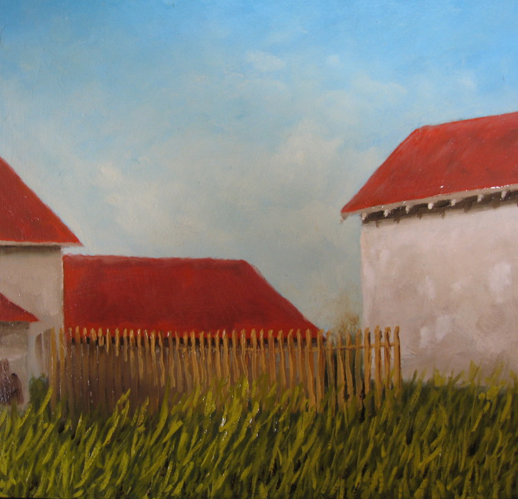 Frans platteland Oil on panel, 30 x 30 cm, framed €500
