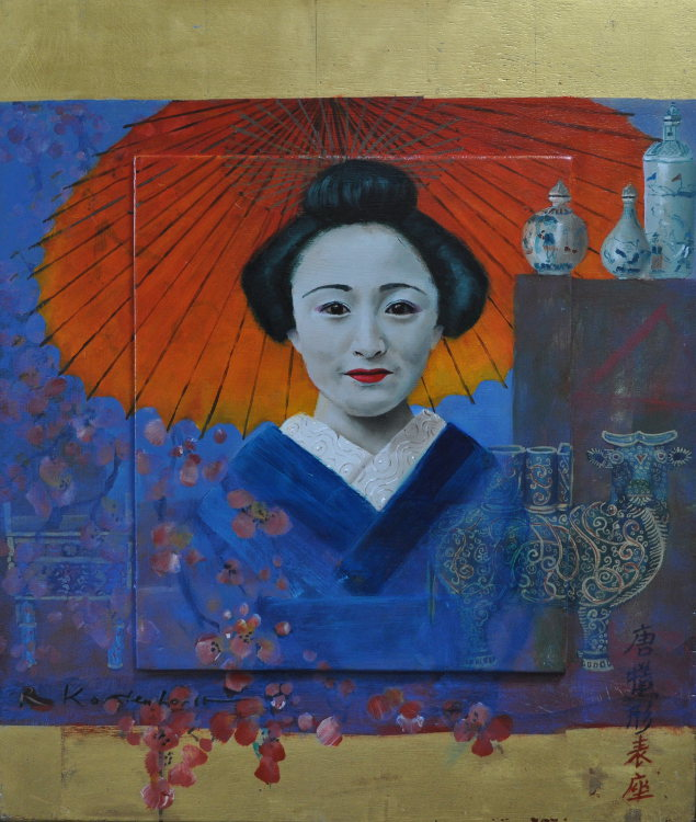 Geisha Oil and gold leaf on panel, framed 53 x 62 cm €2.300