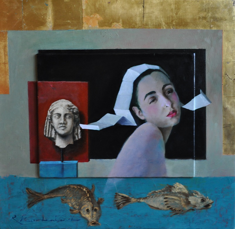 How deep is your love Oil on panel, gold leaf 62x 60 cm 2.400 euro
