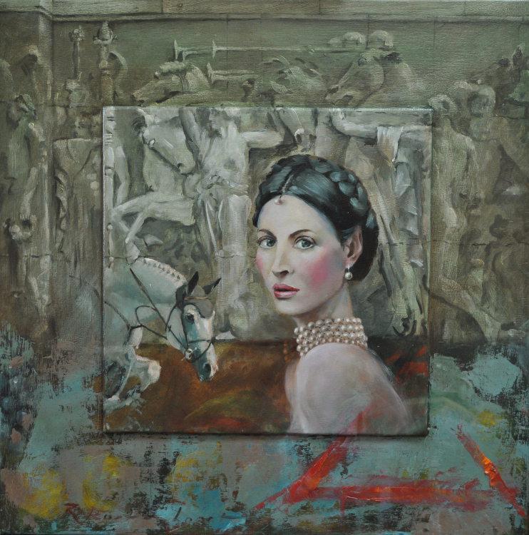 Italian Horse lover Oil on panel, framed 60 x 60cm €2.300