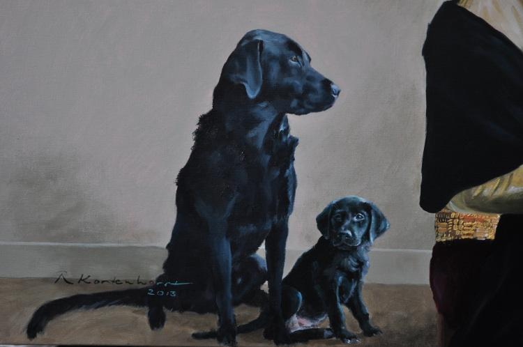 labrador portret in opdracht portretten in opdracht schilderij honden hond rashond combinatie schilderij Hondenportret