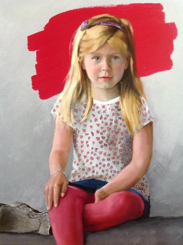 Kinderportretten Lauren portretten in opdracht portret in opdracht schilderij portrait painter schilderij kunstenaar kunstschilder Rudolf Kortenhorst kunstschilder schilder