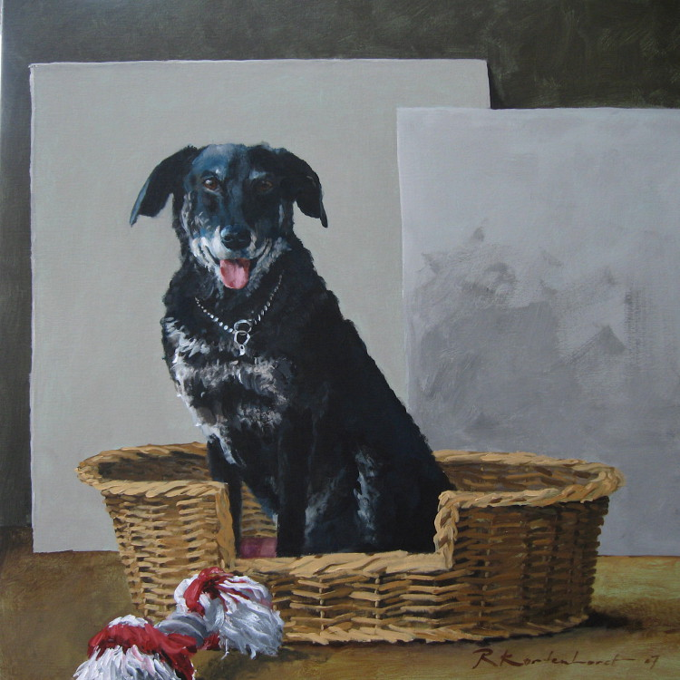 Max Else Schatte Oliver Onno Schatte Olivier portret in opdracht portretten in opdracht schilderij honden hond rashond combinatie schilderij Hondenportret