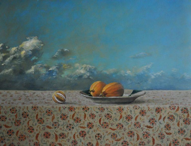 Sierkalabassen bij dreigend weer Oil on canvas 90 x 70 cm 1.400 euro