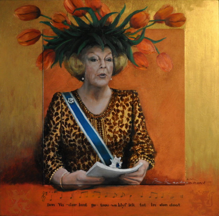 Tulpenkoningin Beatrix Oil on panel background in gold and orange, 60 x 60 cm €2.300
