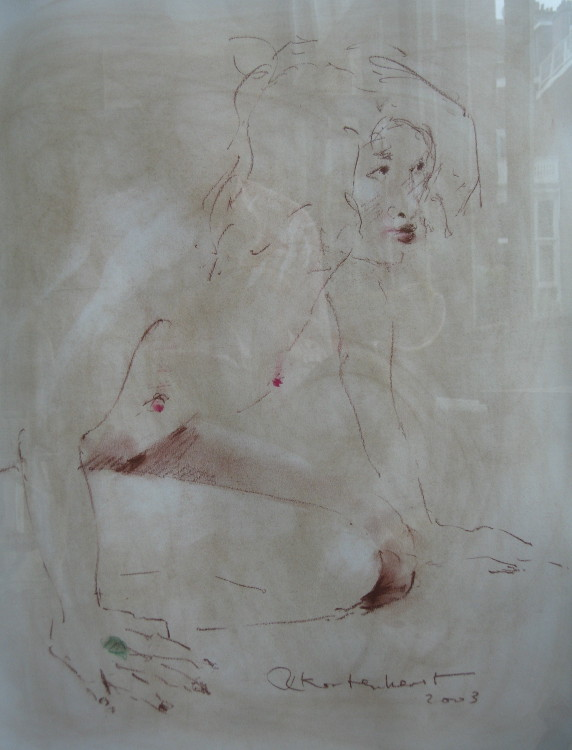 Watching Nude 8 Conté on paper 50 x 60 cm €375
