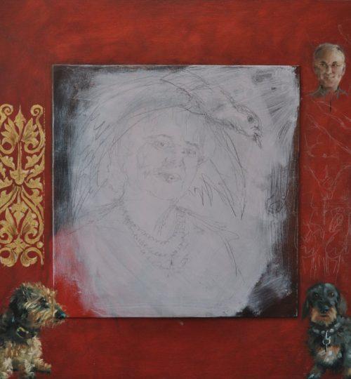 Na behandeling van paneel, achtergrond en eerste schets met potlood en wit krijt plus decoratie, troetelhondjes rechts en links