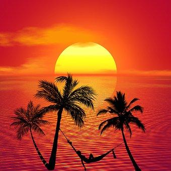 Fühlen Das Gefühl bei einem schönen Sonnenuntergang
