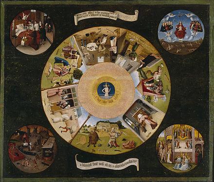 Todsünde: Ein Bild von Hironimus Bosch. Es zeigt die Todsünden un die vier letzten Dinge