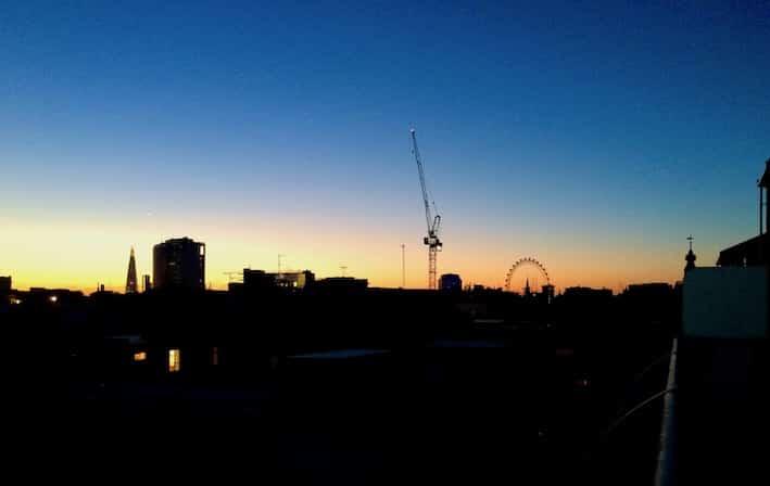 Utsikt fra balkongen på The Soho hotel London