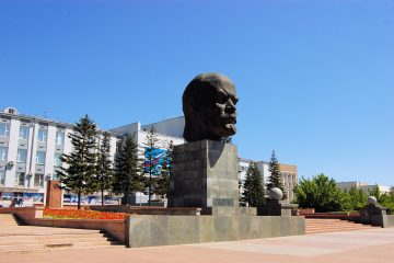Bust Monument to Vladimir Lenin in Ulan-Ude city,
