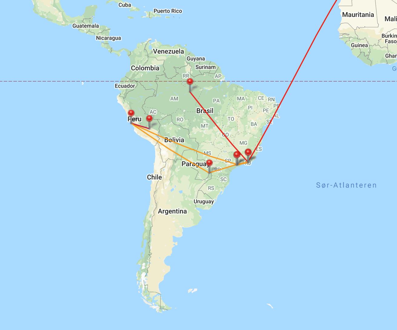 Kart, Sør-Amerika