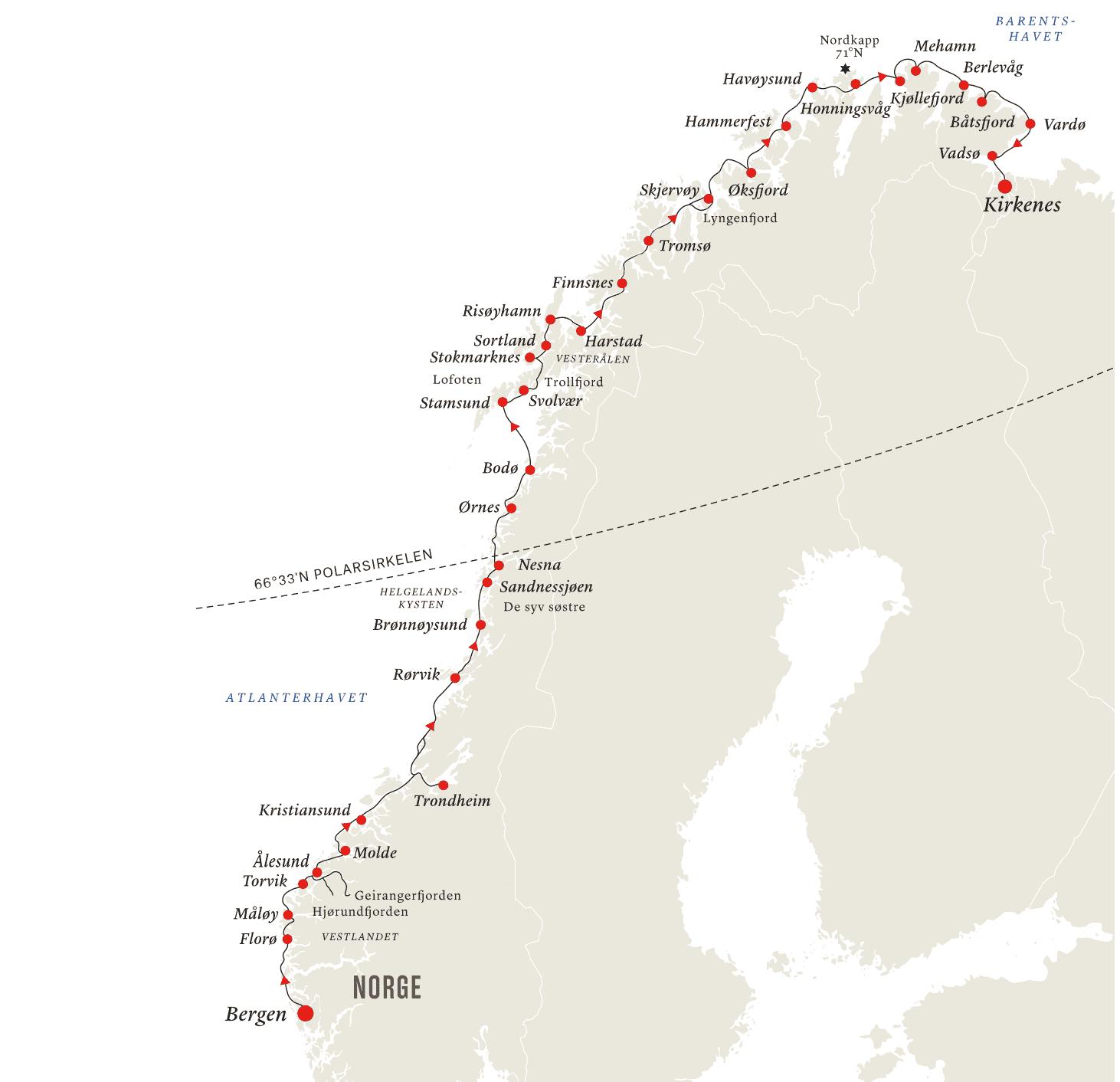 Hurtigruta_nordgående. Reiseåret 2020