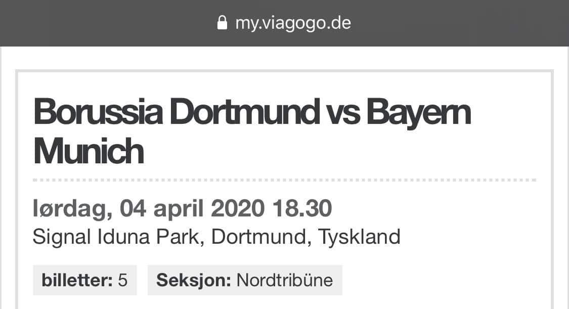 Reiseåret 2020, Dormund vs bayern Munchen