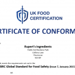 Rupert's Ingredients have been accredited with the AA rating at our latest BRC audit!