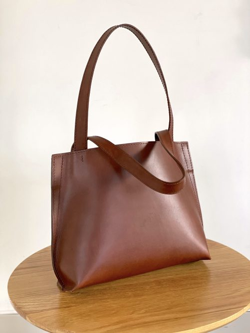 Gallery is a small chestnut leather tote