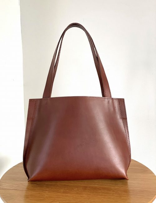 Gallery small chestnut leather tote