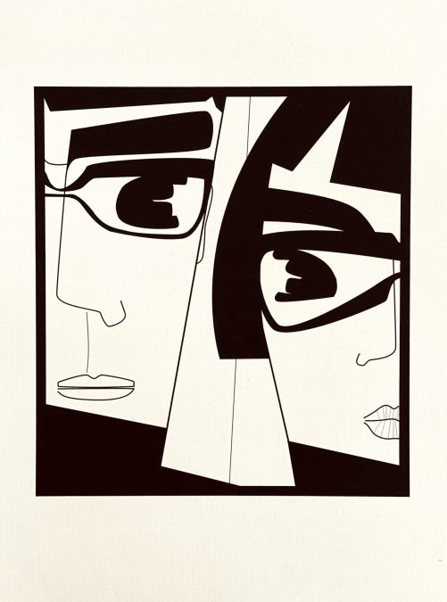 Graphic art print of a couple
