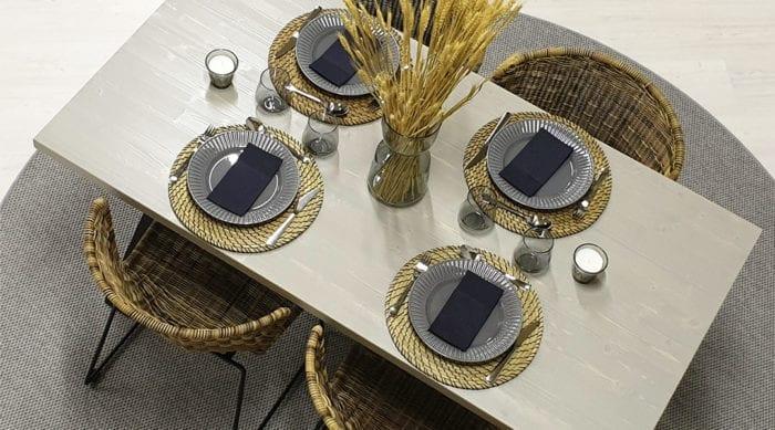 Rektangulärt bord med kryssben, pärlgrå bets, 160x83 cm