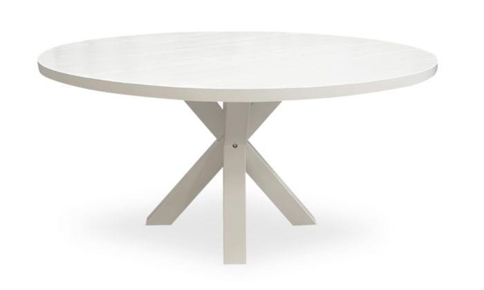 Runt matbord, kryssben, vit färg. 150 cm.
