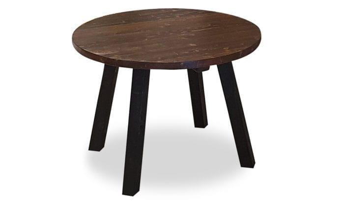 Runt matbord, raka ben, bets i mörk ek, svarta ben. 100 cm.