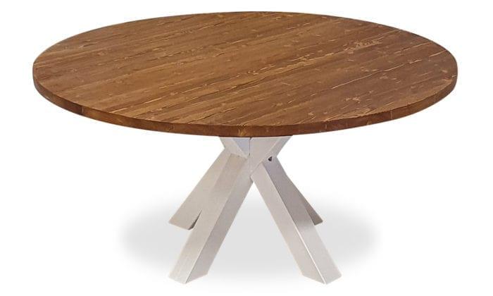 Runt bord, 1 iläggsskiva, brun bets, vita ben. 150 cm.