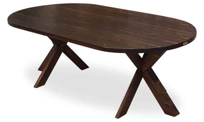Ovalt matbord betsat i mörk ek, 210x115 cm.