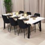 Rektangulärt matbord med stålben Cleo, vit färg, 220x100 cm.