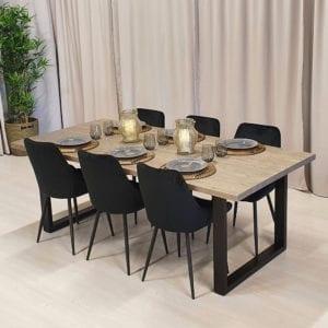 Rektangulärt matbord med stålben Crudo i svart, silvergrå bets, 210x100 cm.