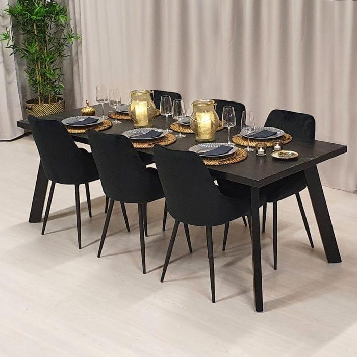 Rektangulärt matbord med stålben Jop, grafitsvart bets, 210x82 cm.