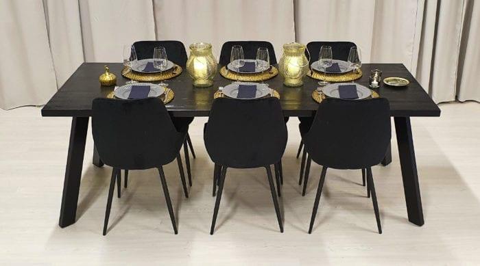 Rektangulärt bord med stålben Jop, grafitsvart bets, 210x82 cm.