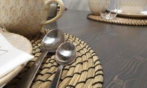 Matbord, rustikgrå dubbelbets