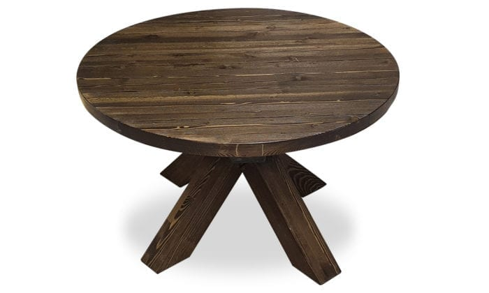 Runt soffbord, bets tjära, kraftiga ben, frilagda plankor. 90 cm.
