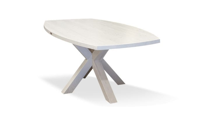 Matbord Olsäter, vit bets, 180x62/102 cm.